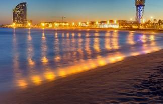 Barcelona beach after sunset